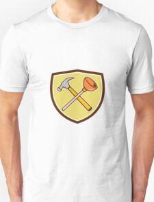 Crossed Hammer Plunger Crest Cartoon  T-Shirt