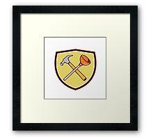 Crossed Hammer Plunger Crest Cartoon  Framed Print