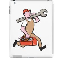 Mechanic Carrying Spanner Toolbox Running Isolated iPad Case/Skin