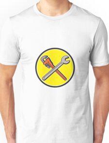 Spanner Monkey Wrench Crossed Circle Cartoon Unisex T-Shirt