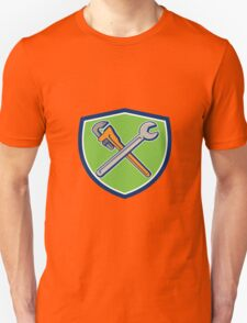 Spanner Monkey Wrench Crossed Crest Cartoon T-Shirt