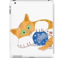 Kitten plays with a Blue Whiffle Ball iPad Case/Skin