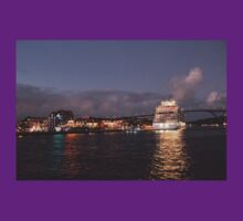 Willemstad Curacao - Queen Juliana Bridge at Night with Cruise Ship T-Shirt