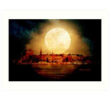 Fire Moon over New London-on-Thames Art Print