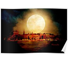 Fire Moon over New London-on-Thames Poster