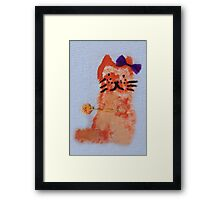 cat with bow drawing Framed Print