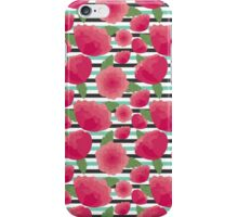 Peonies and stripes iPhone Case/Skin