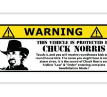 WARNING! This vehicle is protected by Chuck Norris Sticker