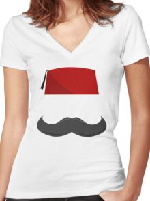 Man with a Fez Women's Fitted V-Neck T-Shirt