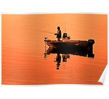 Fishing at sunrise Poster