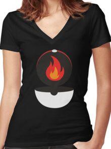 Pokeball - Fire Women's Fitted V-Neck T-Shirt