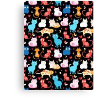 pattern of different cats Canvas Print