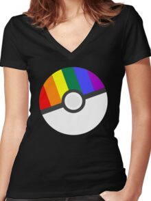 Pokemon 'Prideball' LGBT Pokeball Shirt/Hoodie/etc Women's Fitted V-Neck T-Shirt