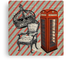 retro jubilee victorian chair london telephone booth Canvas Print