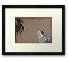 Raven and wolf Framed Print