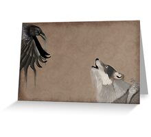 Raven and wolf Greeting Card