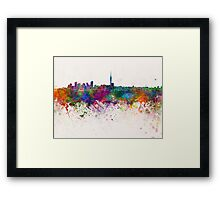 Auckland skyline in watercolor background Framed Print