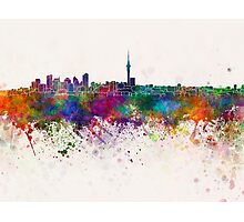 Auckland skyline in watercolor background Photographic Print