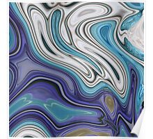trendy modern abstract pattern purple blue swirls Poster