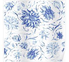 Elegant Pattern with Indigo Flowers Poster