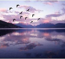 Geese Over Glacier Lake by Wayne King