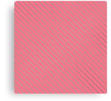 Bright Teal Pinstripe on Neon Pink Canvas Print