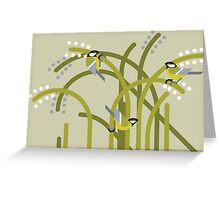 Three Great Tits vector illustration Greeting Card
