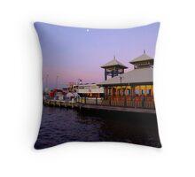 pier at sunset +saturation Throw Pillow