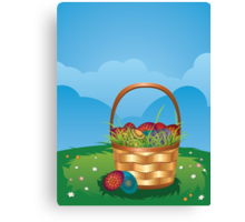 Easter Basket on Lawn 2 Canvas Print