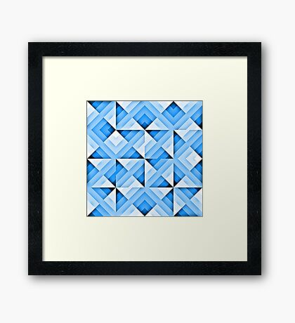white and blue triangle background Framed Print