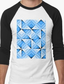 white and blue triangle background Men's Baseball ¾ T-Shirt
