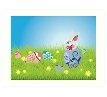 Easter Bunny and Grass Field Art Print