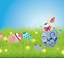 Easter Bunny and Grass Field by AnnArtshock