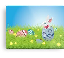 Easter Bunny and Grass Field Metal Print