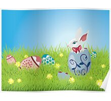 Easter Bunny and Grass Field Poster