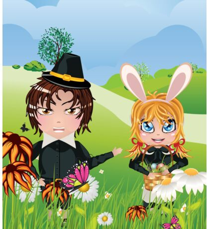 Easter Boy and Girl 3 Sticker