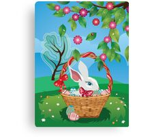 Easter Bunny and Grass Field 2 Canvas Print