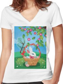 Easter Bunny and Grass Field 2 Women's Fitted V-Neck T-Shirt