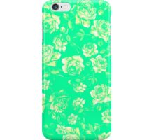 Vintage Roses on Bright Aqua Teal Background iPhone Case/Skin