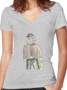 Gentleman Cat Women's Fitted V-Neck T-Shirt