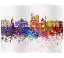 Amiens skyline in watercolor background Poster