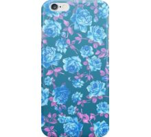 Whimsical Blue and Pink Rose Floral Pattern iPhone Case/Skin