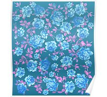 Whimsical Blue and Pink Rose Floral Pattern Poster
