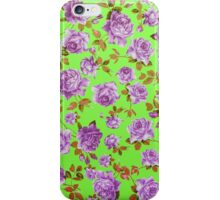 Vintage Purple Roses on Neon Green Background iPhone Case/Skin