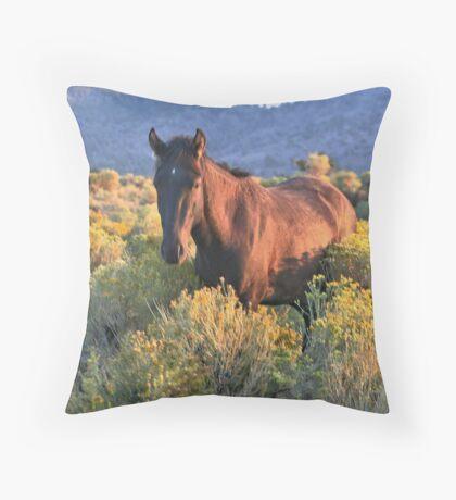 Sage Mustang Throw Pillow