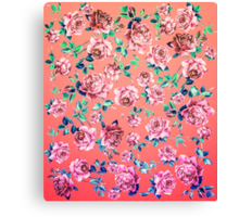Girly Pink, Teal, and Blue Rose Floral Print Canvas Print
