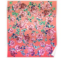 Girly Pink, Teal, and Blue Rose Floral Print Poster