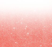 Coral Pink Faux Glitter Gradient by Blkstrawberry