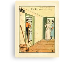 The Buckle My Shoe Picture Book by Walter Crane 1910 23 - Thirteen Fourteen Maids are Courting Canvas Print