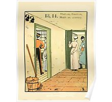 The Buckle My Shoe Picture Book by Walter Crane 1910 23 - Thirteen Fourteen Maids are Courting Poster